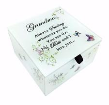 Grandma Glass Trinket Box Gift With Sentiments and Butterflies Boxed DF17051