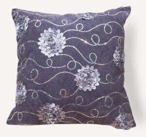 Sc205a Light Plum 3D Flower Sequin Velvet Cushion Cover/Pillow Case*Custom Size*
