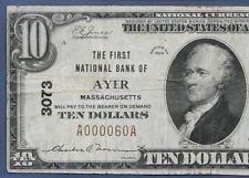 MA  1929  $10  ♚♚ AYER, MASSACHUSETTS ♚♚ PMG VF 25   VERY RARE!!!
