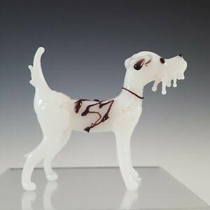 Bimini or Lauscha White & Purple Lampworked Vintage Glass Dog