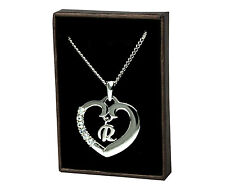 "Initial Heart Necklace ""R"" - 18ct White Gold Plated - Bridesmaid Stylish Wedding"