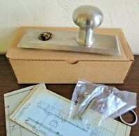 Vintage Architectural Von Duprin Brushed Nickel Door Knob and Backplate, NEW NOS