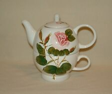 """Tea For 1"" Tea Pot & Matching Mug, Pretty Pink Rose Design, Tea, Coffee or Soup"