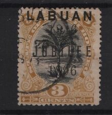 LABUAN SG 84 Black & Ochre 1896  3c Jubilee  Perf 14½-15 Very Fine used