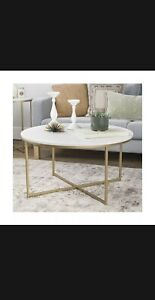 """WE Furniture 36"""" Coffee Table with X-Base - Faux Marble/Gold"""