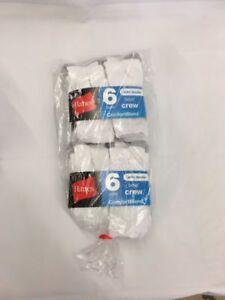 12 Pair Hanes Boys Crew Socks White Size Small 4 1/2 - 8 1/2 ConfortBlend