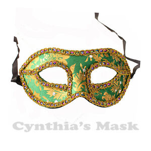 Green and Gold Venetian Masquerade Mask w/Rainbow Trim Party Prom Mardi Gras
