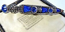 NEW VINTAGE SIGNED MIRACLE JEWELLERY DIRK CELTIC LAPIS BLUE KILT PIN BROOCH