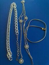 Vintage lot of 3 assorted silver tone chains belts
