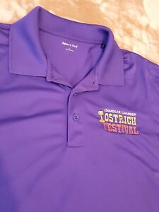 Ostrich Festival mens polo shirt size LARGE purple from Arizona rare
