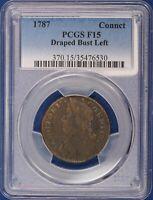 1787 Connecticut Copper. Draped Bust Left PCGS F15. ET1535A/BRH