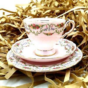 Vintage Royal Tuscan Teacup Saucer Plate Pink Floral Fine Bone China England