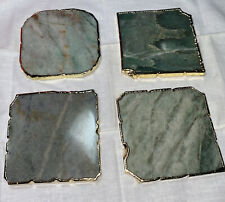 ANTHROPOLOGY set 4 Coasters; Gold-Rimmed Natural Agate Onyx Stone India Square