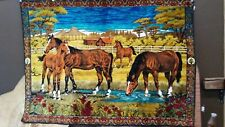 """Vintage Wall Decor Horses Western Country Tapestry Rug 39""""X 55"""" LARGE"""