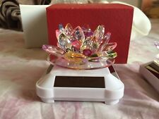 Rotating Crystal Glass Lotus Flower Ornament Solar Powered in Various Colours_UK