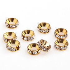 Silver / Gold Crystal Rhinestone Big Hole Spacer Beads Charm European bracelet
