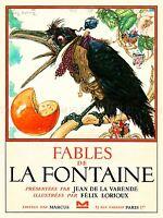 VINTAGE BOOK COVER FABLES DE LA FONTAINE CROW WAISTCOAT PRINT LV4662