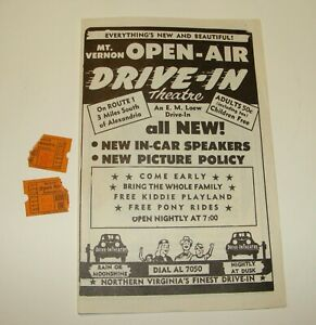 ORIG 1950 MT VERNON OPEN-AIR DRIVE-IN THEATRE FLYER W/ 2 STUBS PERFECT STRANGERS