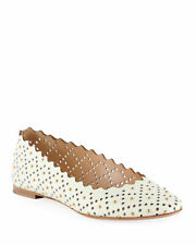 Chloe Perforated Leather Ballet Flat with Studs Shoes Size 39 MSRP: $650.00