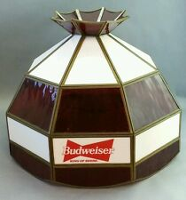 Vintage Budweiser Stained Glass Lamp Light Shade Red White