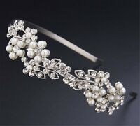 Women Silver Crystal Pearl Leaf Party Hair Head Band Headband Hoop headpiece