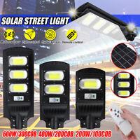 LED Solar Street Light 200W/400W/6000W PIR Motion Sensor Outdoor Wall Lamp+Remot