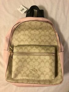 COACH Authentic Charlie Signature Light Pink/Tan Backpack Handbag New With Tags