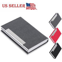 Stainless Steel Slim Pocket leather Business Card Holder Case ID Credit Wallet A