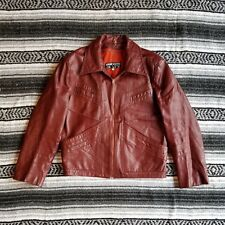 Vintage Unbranded Sz 42/44 Slim Zip Front Cafe Race Moto Leather Jacket Burgundy