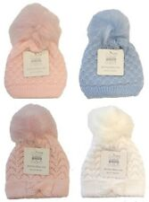 Baby Knitted Winter Hat Pom Pom Pink White Blue Bow Bobble Faux Fur 0 6 12 34 35