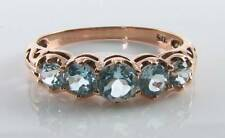 DIVINE 9K 9CT ROSE GOLD BLUE TOPAZ ART DECO INS ETERNITY BAND RING FREE RESIZE