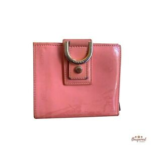Authentic GUCCI D Ring Salmon Pink Patent Leather Zip Around Wallet