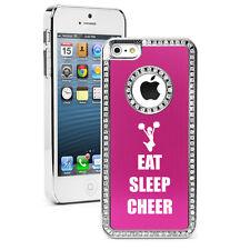 For iPhone 4 5 5s 5c 6 6s Plus Rhinestone Bling Case Eat Sleep Cheer Cheerleader