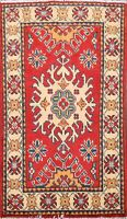 Geometric Super Kazak Pakistan Oriental Area Rug Hand-Knotted RED/IVORY 2'x3'