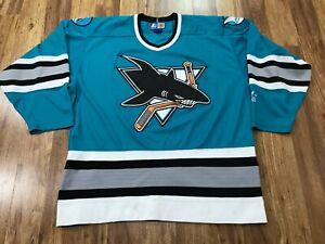 MENS LARGE - Vtg 90s NHL San Jose Sharks Hockey Starter Sewn Jersey Korea