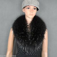 "Black With Tip Raccoon Fur Collar Scarf Wrap Winter Shawl 80X17cm/32"" inch"