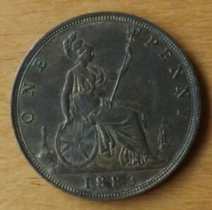 British Victorian One Penny Coin 1883 About UNC Grade Lustrous Toned Lovely.