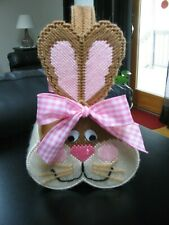 EASTER BASKET - BIG BUNNY BASKET - HANDMADE - FINISHED ITEM - PLASTIC CANVAS