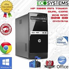Fast Cheap PC Tower -  HP 500B MT Dual Core  E5400 2.7GHz 2GB 320GB Win 10 Pro