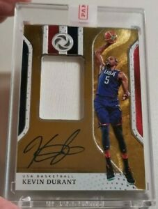 2018-19 Panini Opulence Kevin Durant Gold Medal Jersey Patch Auto /25. Team USA.