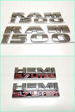 4PCS SET:Chrome Dodge RAM 1500 + HEMI 5.7 Emblem Badge 3D LOGO LETTERS NAMEPLATE