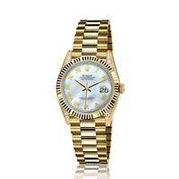 Rolex 31mm Presidential 18kt Gold White MOP Mother Of Pearl Roman Numeral Dial L