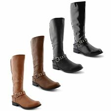 Knee High Synthetic Leather Block Casual Women's Boots