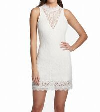 Kensie Womens Dress Classic White Size 8 Sheath High Neck Lace Illusion $108 113
