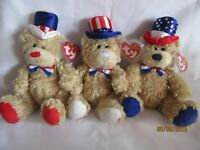 TY BEANIE BABY INDEPENDENCE, RED, WHITE AND BLUE U.S.A BEARS - MINT - RETIRED