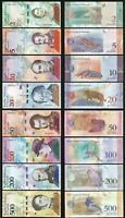 Venezuela 8 PCS SET , 2 to 500 Bolivares SOBERANOS 2018, UNC , LAST TWO S/N SAME