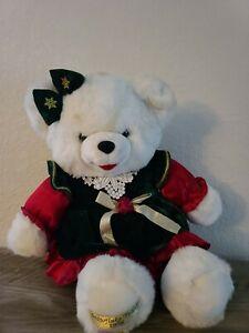 "1998 WalMART CHRISTMAS Snowflake TEDDY BEAR White Girl 22"" Red/green Outfit nice"