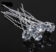10 x Clear Diamante Pins Clips for Wedding Bridal Prom Hair Brides Jewellery