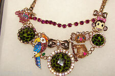 """BETSEY JOHNSON NECKLACE """"A DAY AT THE ZOO LEOPARD CRITTER FRONTAL NWT RARE!!"""