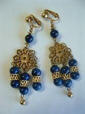 "VTG 3"" LONG!!! Blue Marbled Swirl Glass Bead Drop Dangle Earrings Etruscan Style"